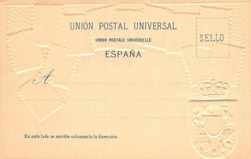 Spain Stamps on Early Embossed Postcard, Unused, Published by Ottmar Zieher
