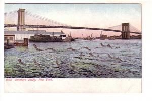 Boats and Brooklyn Bridge, Waves Made of Glitter, New York City,
