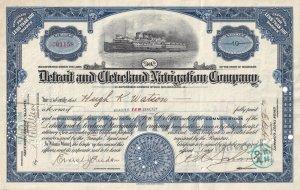 Detroit & Cleveland Navigation Company, 10 Shares Certificate #CO1158, 1926