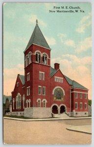 New Martinsville West Virginia~First Methodist Episcopal ME Church~1913 Postcard