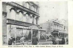 NEW ZEALAND Great Christchurch Fire Disaster - Feb 1908 Cashel Street