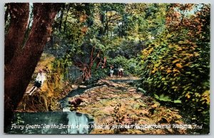 Huntington-Wabash Indiana~Fairy Grotto~On the Banks~Autumn Trees~c1911 PC