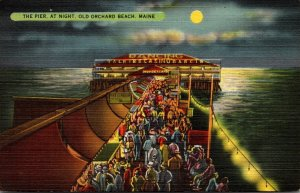Maine Old Orchard Beach The Pier At Night 1939