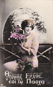 Beautiful Lady With Flowers 1918 Real Photo
