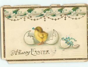 1916 Easter CHICK BESIDE EGG SHELL FULL OF BLUE FLOWERS o6448