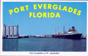 PORT EVERGLADES, wonderful view of the port at Fort Lauderdale, 1950s