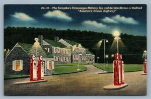 BEDFORD PA TURNPIKE MIDWAY GAS SERVICE STATION ADVERTISING VINTAGE POSTCARD