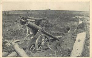 WW1 First World War battlefield atrocities destroyed french cannon battery