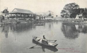 Decatur Illinois~Dreamland Park~Roller Coaster~Lake~Man In Boat~1906