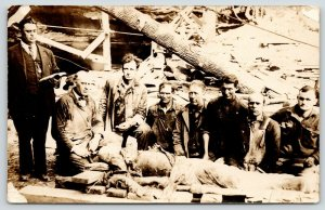 Coal Mine Disaster~Miners Grouped Around Stretcher~Bible Reading~1920s RPPC