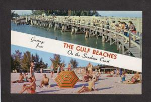 FL Greetings from The Gulf Beaches Florida Postcard Striped Banner PC