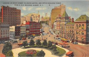 Albany New York~State Street Toward St Capitol & Office Bldg~Buses-Cars~1949 PC