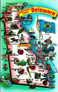 Greetings From Delaware DE State Map Town Attractions Flag Postcard 1950s