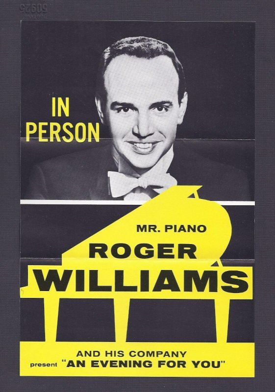 Ca 1950'S FOLD OUT FLYER OF ROGER WILLIAMS, MR PIANO, FAIRFIELD CT