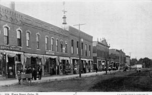 Galva Illinois~Front Street~Competing Drug Stores~Men Gathered~1908 CU Williams