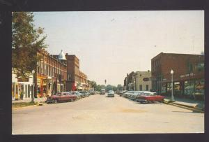 UNION CITY MICHIGAN DOWNTOWN STREET SCENE 1950's CARS VINTAGE POSTCARD STORES