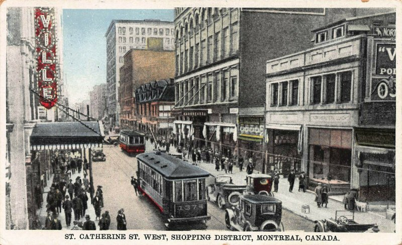 St. Catherine Street West, Montreal, Canada, Early Postcard, Used in 1934