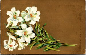 WHITE FLOWERS TOPICAL - vintage - posted 1909 - POSTCARD