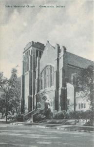 Greencastle IN Shade Trees & Shrubs @ Gobin Memorial Church~Tinted~1920 Postcard