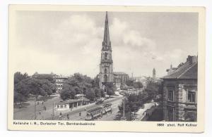 Germany Karlsruhe Church Durlacher Tor Bernharduskirche Vintage Postcard Trolley