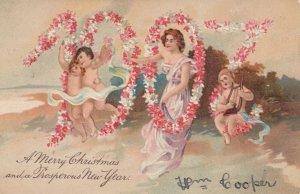 NEW YEAR, PU-1906; 1907 in flowers, Woman & cherubs, PFB 6415