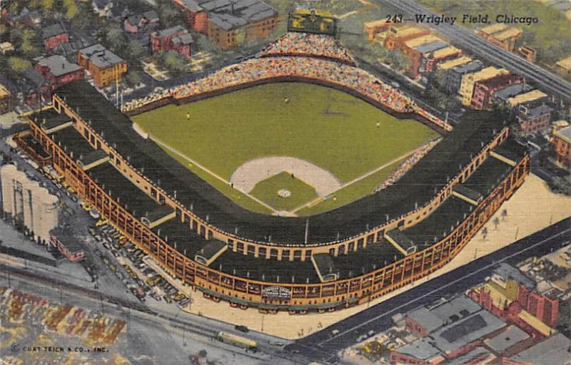 Baseball Stadium Post Card Wrigley Field Home of the Chicago Cubs & Chicago B...