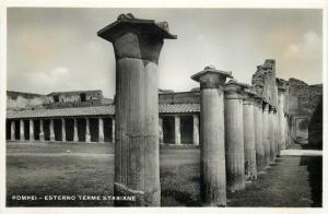 Italy 1930s Real Photo Postcard Pompei Esterno Terme Stabiane