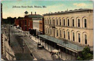 1910s MEXICO, Missouri Postcard Jefferson Street South Downtown Scene c1910s