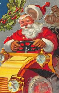 Glad Christmas Greetings Red Robed Santa Claus Automobile 41927 Postcard