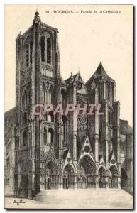 Bourges Old Postcard Facade of the cathedral