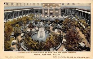 New York City~Park Avenue Hotel~Sunken Palm Garden Fountain~Dining Verandas~1908