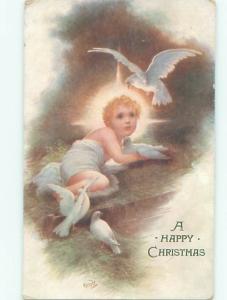 Pre-Linen Christmas nativity WHITE DOVE BIRD OVER BABY JESUS AB5688