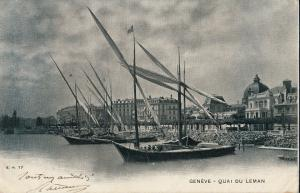 Switzerland Geneva 1903 quai du Leman lake sailing boats
