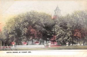 Mt Pleasant Iowa Hospital Grounds Street View Antique Postcard K46652