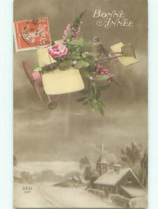 tinted rppc c1910 AIRPLANE WITH FLOWERS AC8992