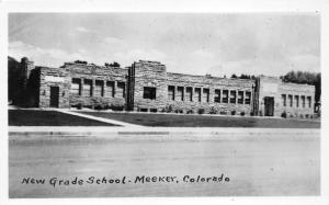Meeker Colorado~New Grade School~Shrubs Along Front~Vintage RPPC Postcard