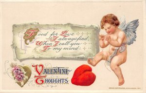 LP98  Valentine's Day Postcard Winsch Publisher Schmucker Cherub mending heart