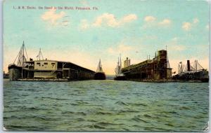 1913 Pensacola, Florida Postcard Louisville & Nashville L&N Docks Steamships