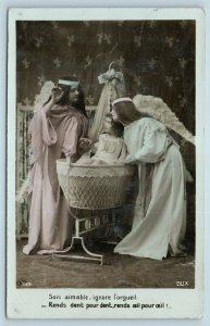 Postcard Girls Dressed As Angels Girl in Bassinet Tinted RPPC Real Photo AE13