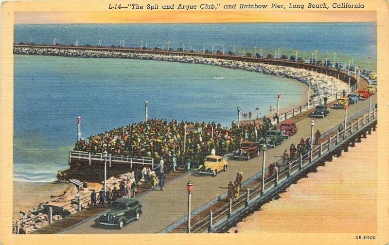 Long Beach California Spit Argue Club Rainbow Pier Boardwalk 1930s Cars