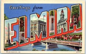 ELMIRA New York Large Letter Postcard Colorful Curteich Linen c1940s Unused