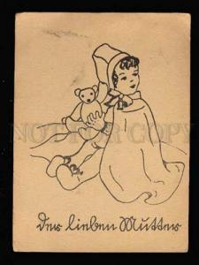 010462 Little Girl w/ TEDDY BEAR Toy Style GUTMANN Vintage PC