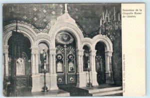 GENEVA, SWITZERLAND ~ Church Interior ICONS RUSSIAN CHAPEL ca 1900s  Postcard