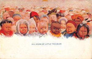 All Kinds Of Little Troubles Babies Children Antique Postcard K7876538