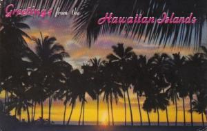 Hawaii Greetings With Sunset Through The Palms 1967