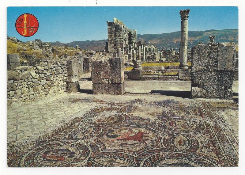 Morocco Maroc Volubilis Roman Mosaics Ruins Vintage Postcard 4X6