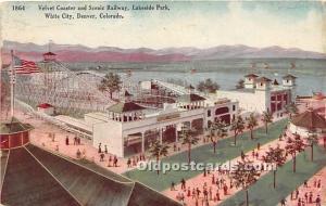 Denver, Colorado, CO, USA Postcard Velvet Coaster and Scenic Railway at Lakes...