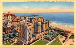 New Jersey Atlantic City Airplane View Showing Hotels and Steel Pier Curteich
