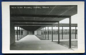 Cuero Texas tx New High School real photo postcard RPPC