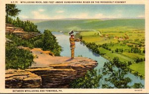 Pennsylvania Wyalusing Rock On The Roosevelt Highway Curteich